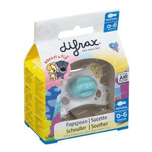 Difrax Sucette Natural Woezel&Pip 0-6 M 1 pièce