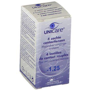 Unicare Souple Lentilles Mensuelles -1,25 4 st