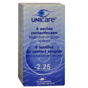 Unicare Soft Monthly Lenses -2,25 4 St pack