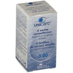 Unicare Souple Lentilles Mensuelles -3,00 4 pièces