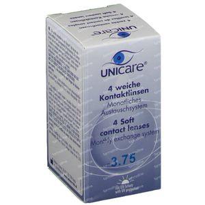 Unicare Souple Lentilles Mensuelles -3,75 4 pièces