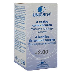 Unicare Soft Monthly Lenses +2,00 4 St