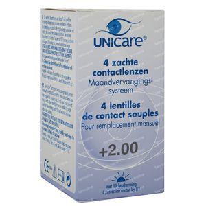 Unicare Souple Lentilles Mensuelles +2,00 4 pièces
