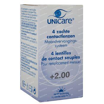 Unicare Souple Lentilles Mensuelles +2,00 4 st