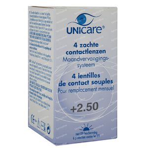 Unicare Soft Monthly Lenses +2,50 4 St