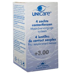 Unicare Soft Monthly Lenses +3.00 4 St
