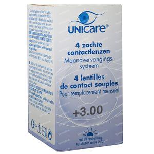 Unicare Souple Lentilles Mensuelles +3.00 4 pièces