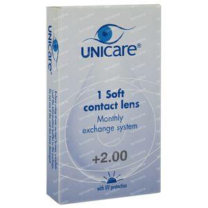 Unicare Soft Monthly Lenses +2,00 1 stuk