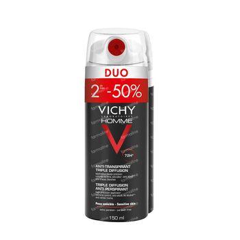 Vichy Homme Deodorant Anti-Transpiratie Triple Diffusion 72h Duo 2x150 ml