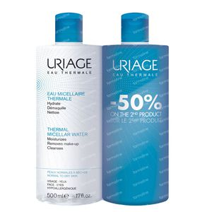 Uriage Micellair Water Thermale Normale Droge Huid Duo Promo 1000 ml