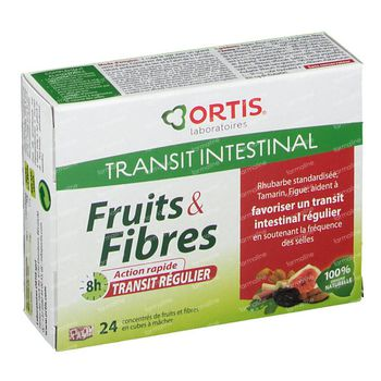 Ortis Fruits & Fibres Transit Regulier Cubes 24 comprimés à croquer