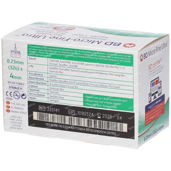 BD Microfine Ultra Pen-Nadel 4 mm 32g Thinwall 320141 100 st