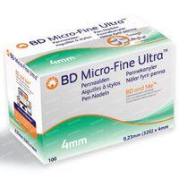 BD Micro-Fine+ Ultra Pennaald 4 mm 32g 100 st