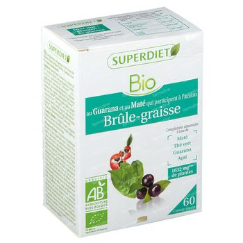 Superdiet Complex Maté Brûle Graisse Maté - Guarana - Thé Vert - Acaï Bio 60 capsules