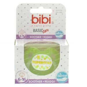 Bibi Pacifier Superstar Green 6-16m 1 pezzo