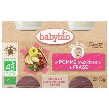 Babybio Bipack Appel-Aardbei +6 Maanden 2x130 g