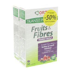 Ortis Vruchten + Vezels Transit 2de aan -50% 2x30 tabletten