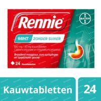 Rennie Mint zonder Suiker - Brandend Maagzuur & Zure Oprispingen 24  kauwtabletten