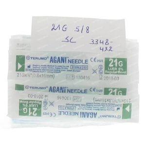 Terumo Agani Aiguille 21g 5/8 Verte 10 pièces