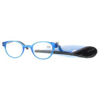 Pharma Glasses Leesbril Round Blauw/Zwart +4.00 1 stuk