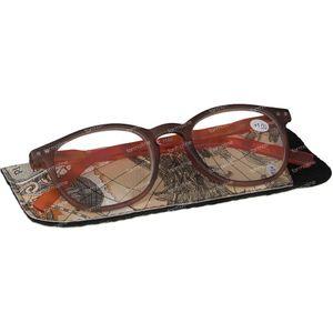 Pharma Glasses Leesbril Comp Bruin/Oranje +1.00 1 stuk