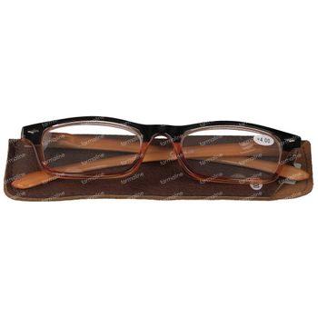 Pharma Glasses Leesbril Comp Bruin/Oranje +4.00 1 stuk