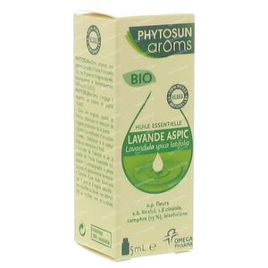 Phytosun Lavendel Aspic Bio Essentiële Olie 5 ml