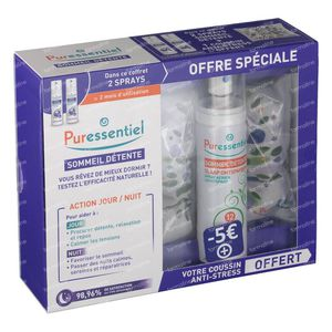 Puressentiel Sommeil Détente Spray Aérien 12 Huile Essentielle Duo + Coussin 2 x 75 ml spray