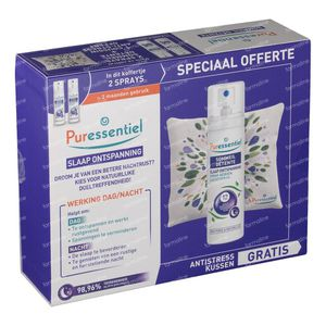 Puressentiel Rest & Relax Air Spray 12 Essential Oils Duo + Cushion 2 x 75 ml spray