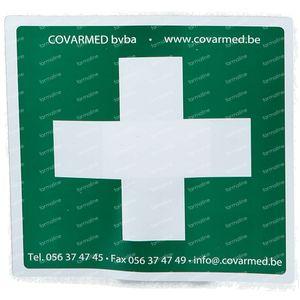 Sticker Groen Wit Kruis Ehbo 10x10 cm 1 stuk