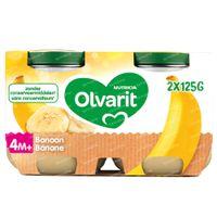 Olvarit Nourriture Bébé Compote Banane dès 4 Mois 2x125 g
