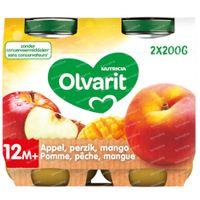 Olvarit Nourriture Bébé Compote Pêche - Pomme - Mangue dès 12 Mois 2x200 g