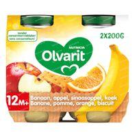 Olvarit Nourriture Bébé Compote Banane - Pomme - Orange - Biscuit dès 12 Mois 2x200 g