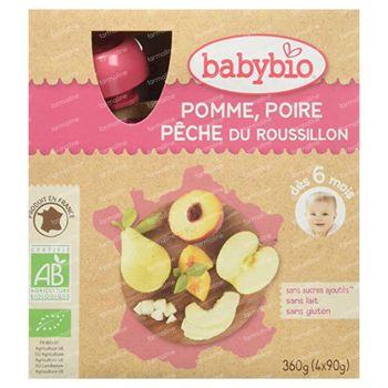 Babybio Vruchtenmoes Appel-Peer-Perzik 4x90 g