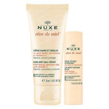 Nuxe Rêve de Miel Crème Mains et Ongles + Stick Lèvres Hydratant 1 set