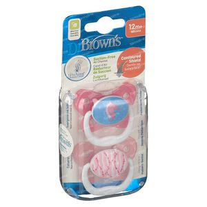 Dr Brown Pacifier Prevent +12 Months Rose 2 pieces