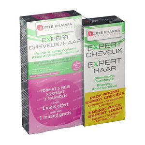Forté Pharma Expert Capelli Tripack + Expert Capelli Shampoo 200ml 3 x 28 Pezzi Compresse