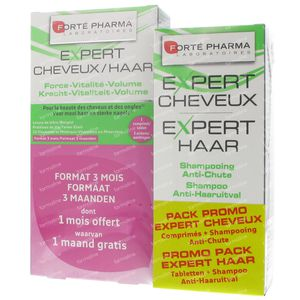 Forté Pharma Expert Cheveux Tripack + Expert Cheveux Shampooing 200ml 3 x 28 comprimés