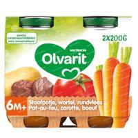 Olvarit Repas Pot-au-Feu Carotte-Bœuf 6 Mois 2x200 g