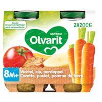 Olvarit Maaltijdpotje Wortel-Kip-Aardappel 8 Maanden 2x200 g