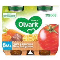 Olvarit Maaltijdpotje Pasta Bolognaise 8 Maanden 2x200 g