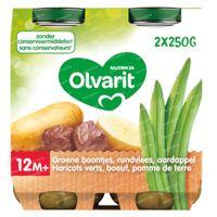 Olvarit Maaltijdpotje Groene Boontjes-Rundsvlees-Aardappel 12 Maanden 2x250 g