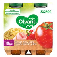 Olvarit Maaltijdpotje Macaroni-Tomaat-Ham 18 Maanden 2x250 g