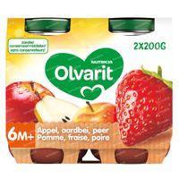 Olvarit Nourriture Bébé Compote Pomme - Fraise - Poire dès 6 Mois 2x200 g