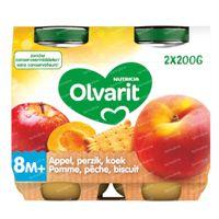 Olvarit Nourriture Bébé Compote Pomme - Pêche - Biscuit dès 8 Mois 2x200 g