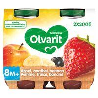 Olvarit Babyvoeding Fruitpap Appel - Aardbei - Banaan vanaf 8 Maanden 2x200 g