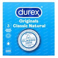 Durex Classic Natural Préservatifs 3 pièces