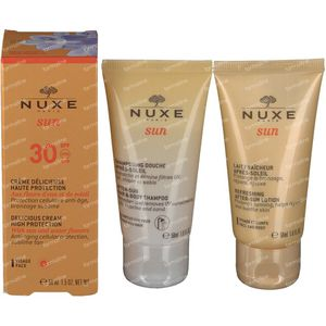 Nuxe Sun Visage SPF30 Sacchetto Bellezza 3x50 ml