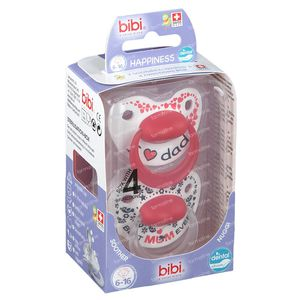 Bibi Schnuller Happiness Duo Mama & Papa Dental 6-16 Monaten 2 st