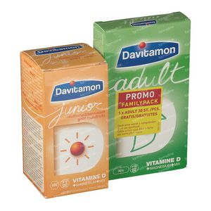 Davitamon Junior Multivruchten + GRATIS Adult 60+30 St Tabletten